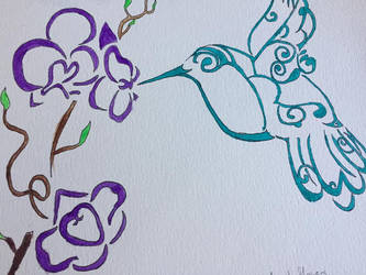 Tribal Hummingbird And Flowers painting by darkwitch123