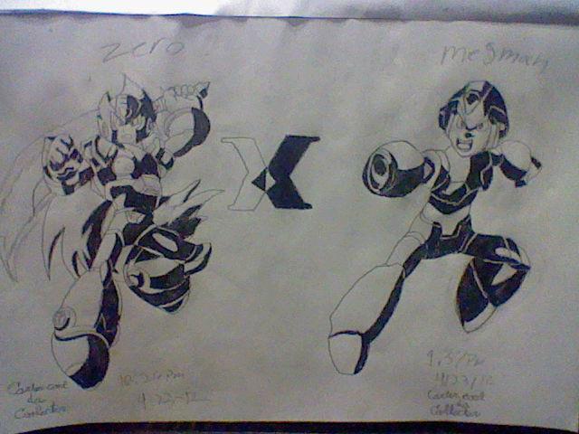 Mega man X Zero (black and white splash) by amazerbeta