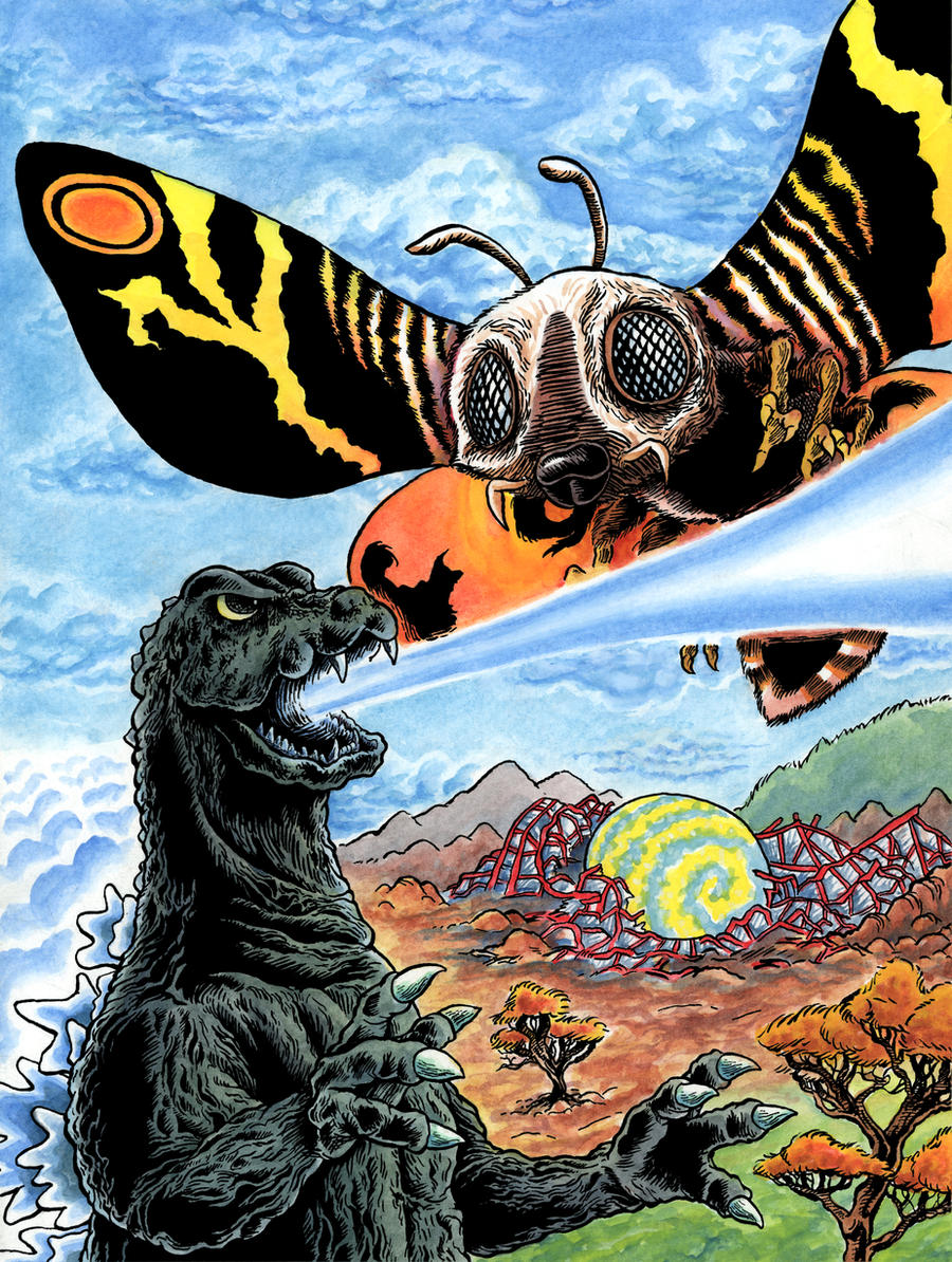 Mothra vs Godzilla by goemonsama