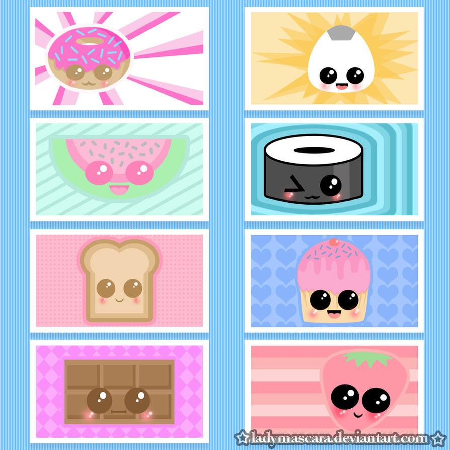 kawaii food sticker set by LadyMascara