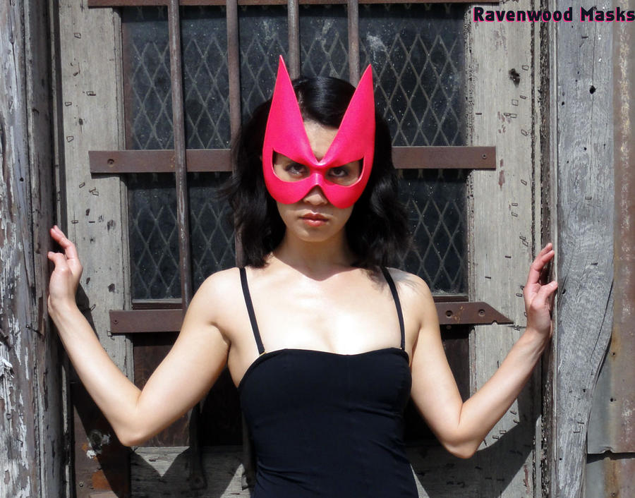 Hot Pink Feline mask by Alyssa-Ravenwood
