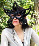 Circus Star leather mask in black