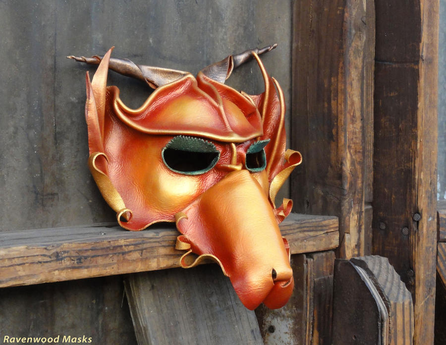 Red Dragon - leather mask by Alyssa-Ravenwood