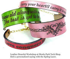 Laser etched leather bracelets workshop