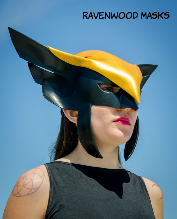Hawkgirl cosplay leather mask by Alyssa-Ravenwood