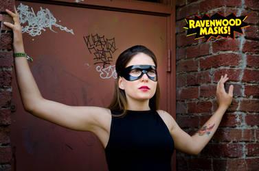 Sidekick black leather mask by Alyssa-Ravenwood