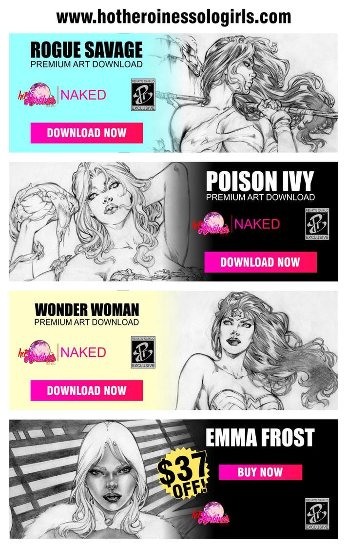 Hot Heroines Solo Girls AD by renatocamilo
