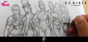 DC Girls Sketch by renatocamilo