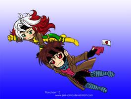 Chibi Rogue X Gambit X-Men by Pia-sama