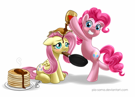 Flutter Pie Pancakes with Maple Syrup by Pia-sama