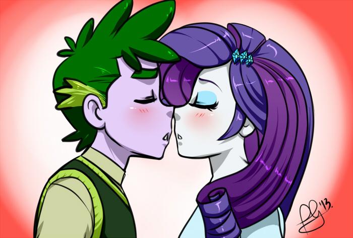 Rarity and spike kiss human