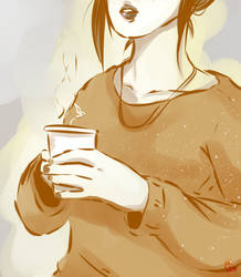 a warm cup, an oversized sweater, and freckles. by AKreiko