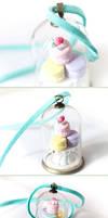 Pastel Macarons Terrarium Dome Necklace