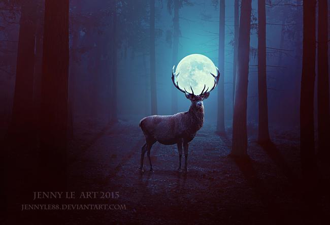 Deer of Moon by JennyLe88