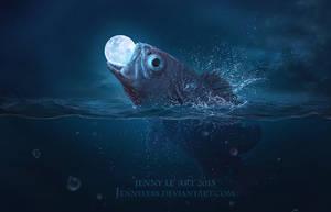Fish eats Moon by JennyLe88
