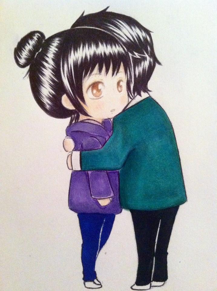 Chibis hugging - photo#17