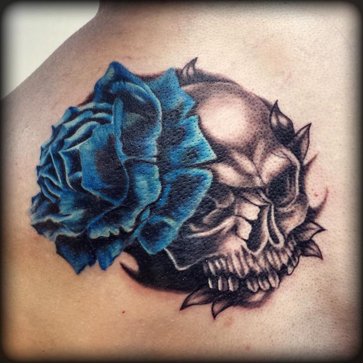 Blue rose with skull tattoo by Revenants1 on DeviantArt