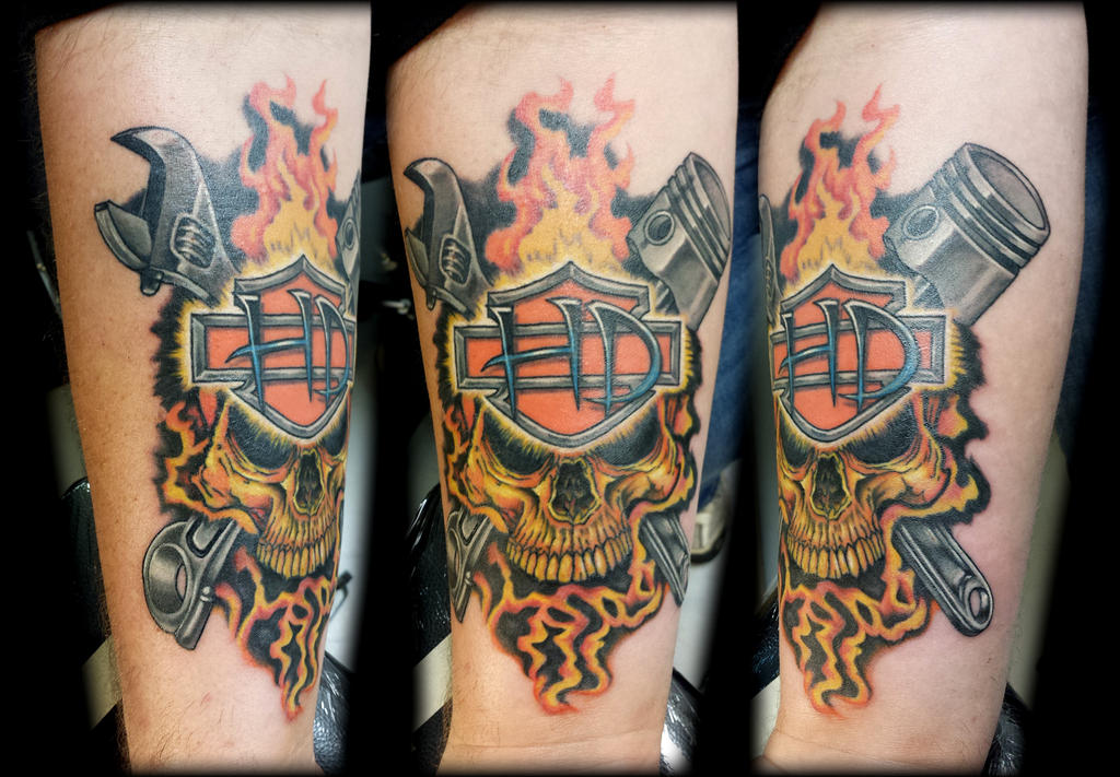 Harley davidson skull with piston and wrench by revenants1 for Piston and wrench tattoo