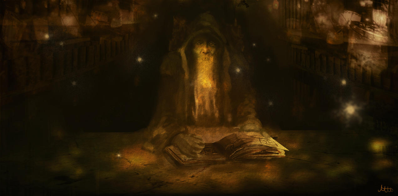 Wizard reading a book by Mannepanne