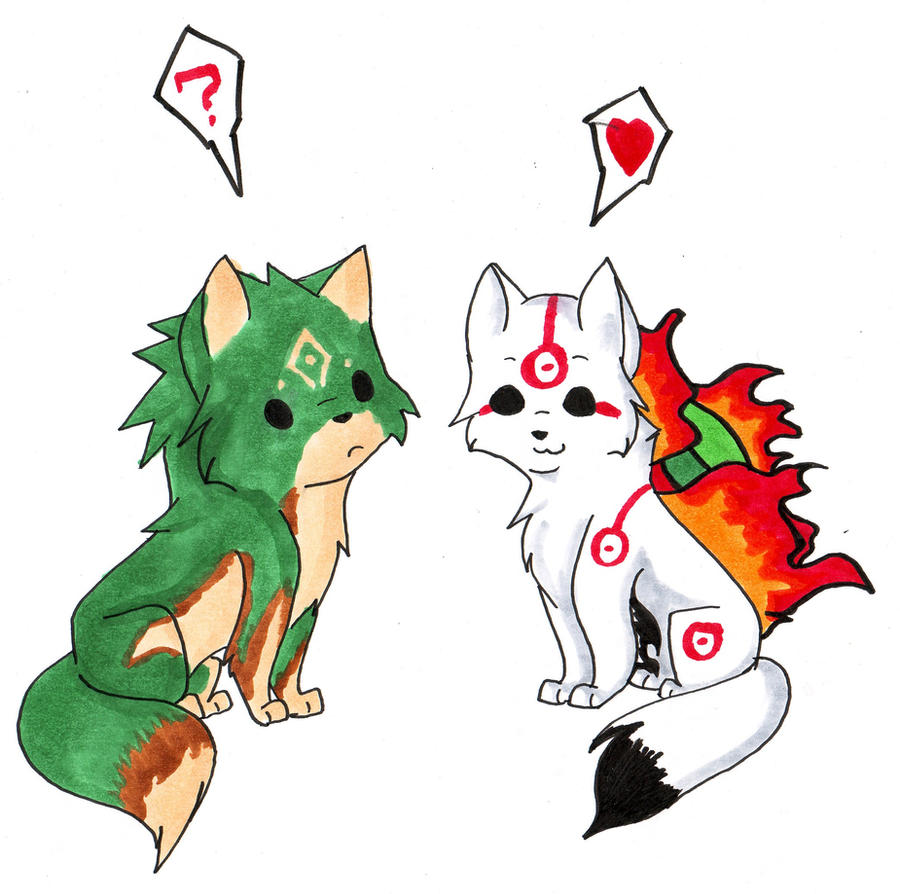 Chibi Amaterasu and Link by VampireBlackBlood on DeviantArt