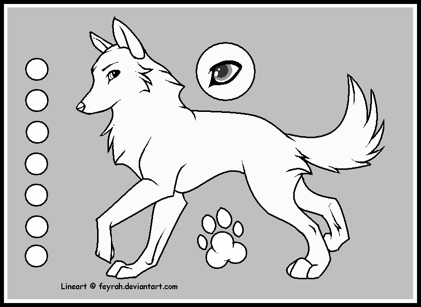 Wolf Lineart by Feyrah