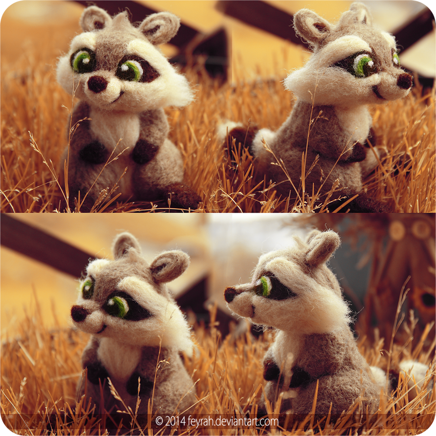 Needle Felted Raccoon by Feyrah