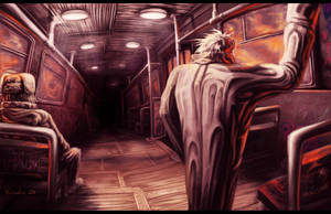 Darkness in the end of a tram by Yubodoc