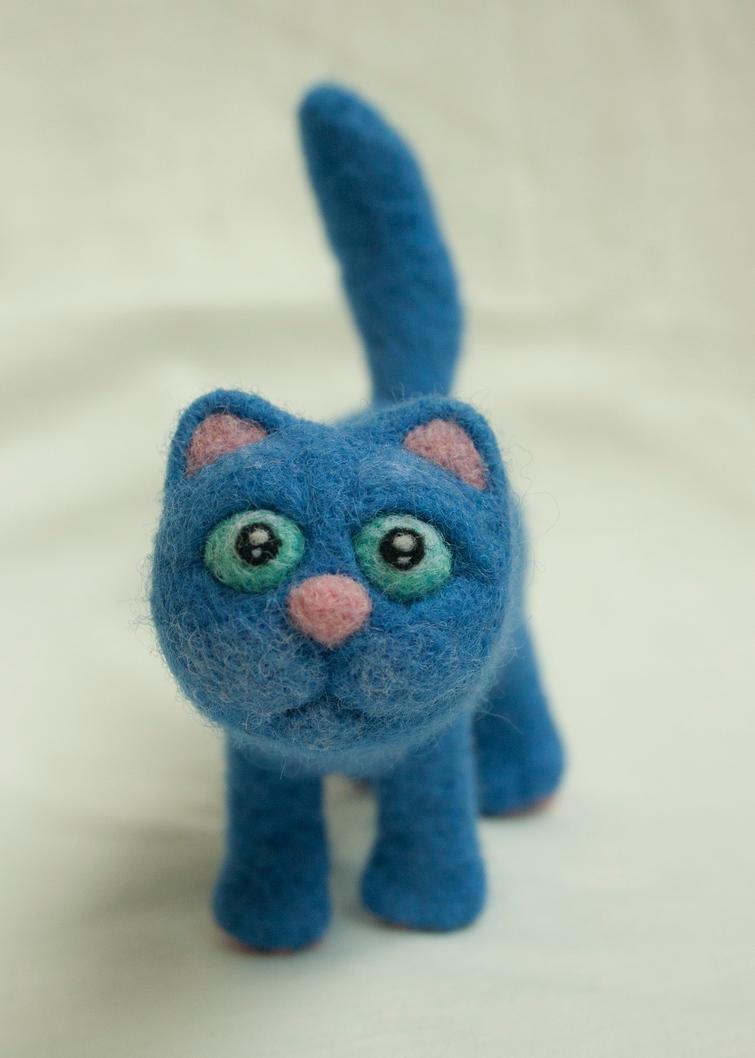 Blue felted cat 5 by Yubodoc