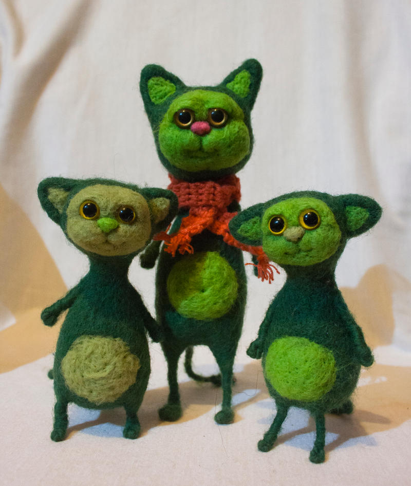 Green cats by Yubodoc