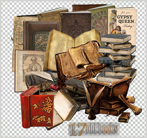 "17 PNG ""Old Books"" by CaT-S0uL"