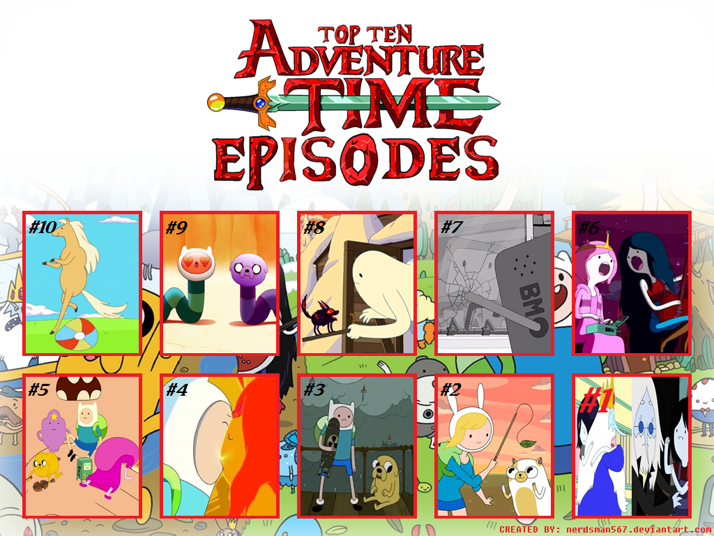 Top 10 Adventure Time Episodes (Seasons 1-6) by nerdsman567 on