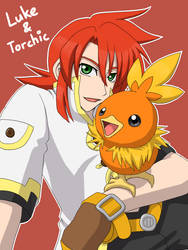 Xover - Luke and Torchic by aki-lhant