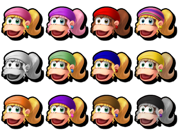 dixie kong ssb5 life stock icon set updated by