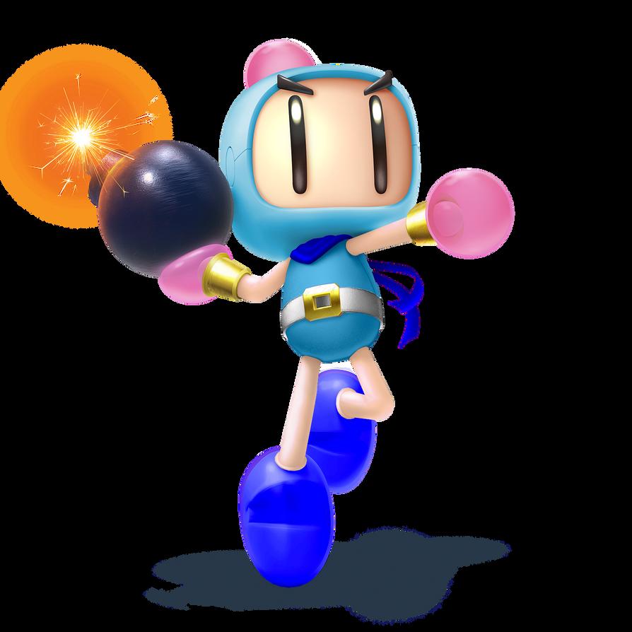 SSB5 Bomberman - Acrobat/Adorable Aqua Alt by ZaneTheDragon