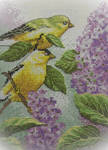 Goldfinch and Lilacs Cross-Stitch