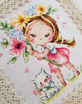 A Girl and the Flower Cross-stitch