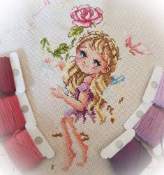 Rose Fairy Cross-stitch (WIP)