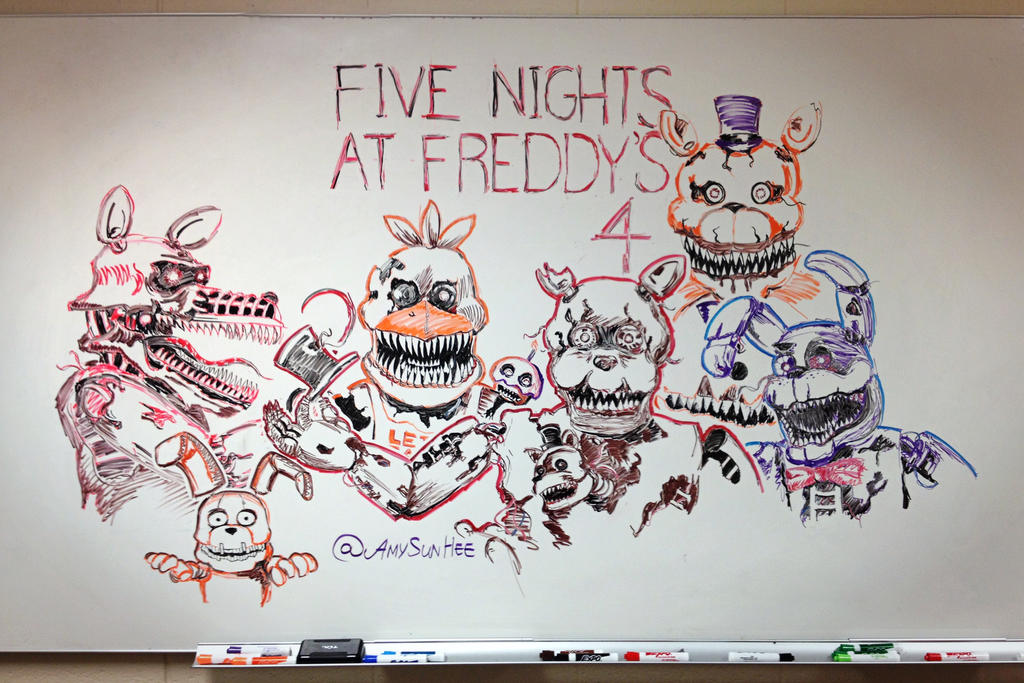 Five nights at freddy 39 s 4 whiteboard drawing by amysunhee for Stuff to draw on a whiteboard