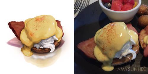 Food Illustration - Eggs Benedict by AmySunHee
