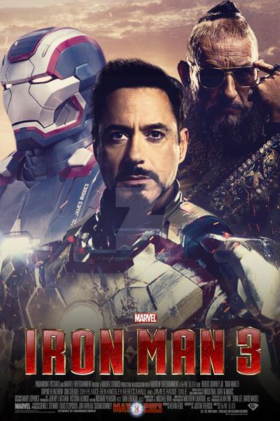 Iron Man 3 (Fan Made) Movie Poster v6 by DiamondDesignHD