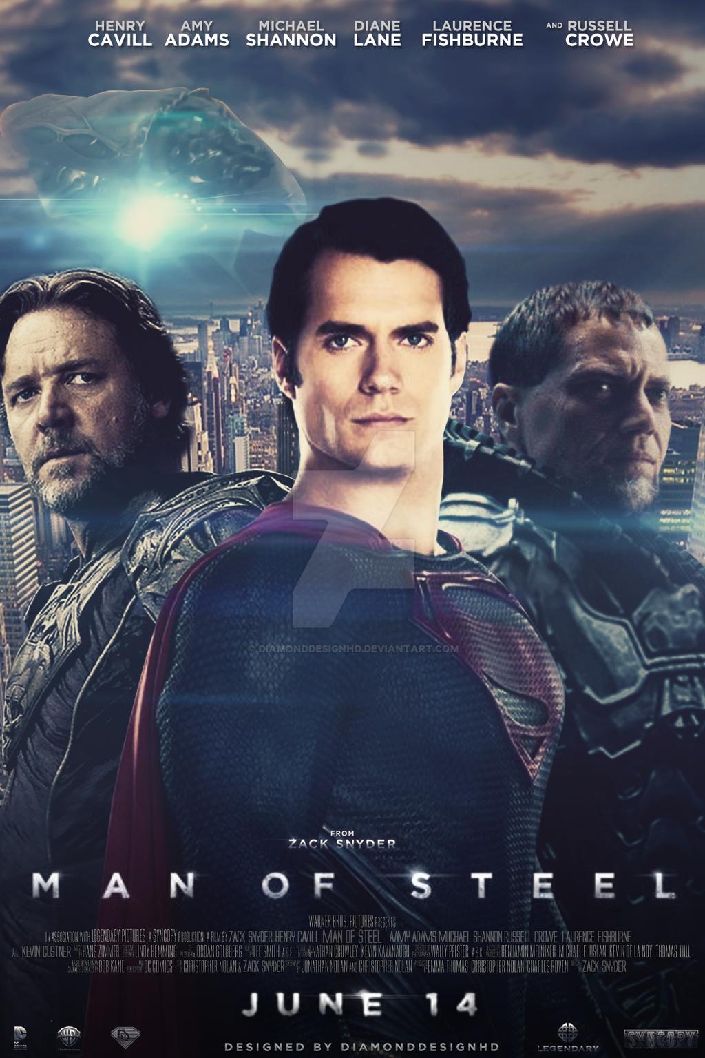 man of steel fan made poster design v9 by diamonddesignhd