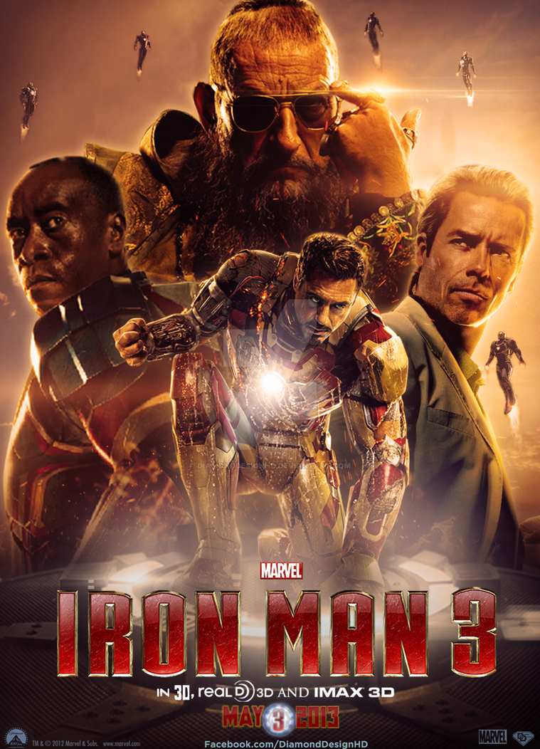 Iron Man 3 (Fan Made) Movie Poster v8 by DiamondDesignHD