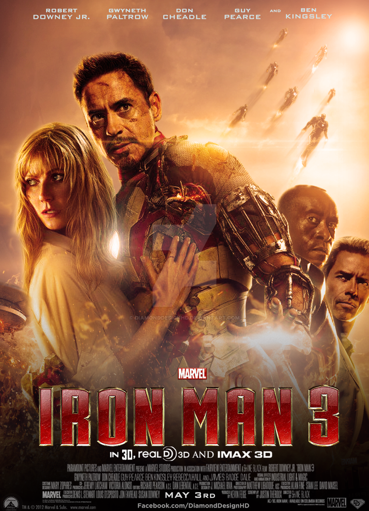 Iron Man 3 (Fan Made) Movie Poster v9 by DiamondDesignHD