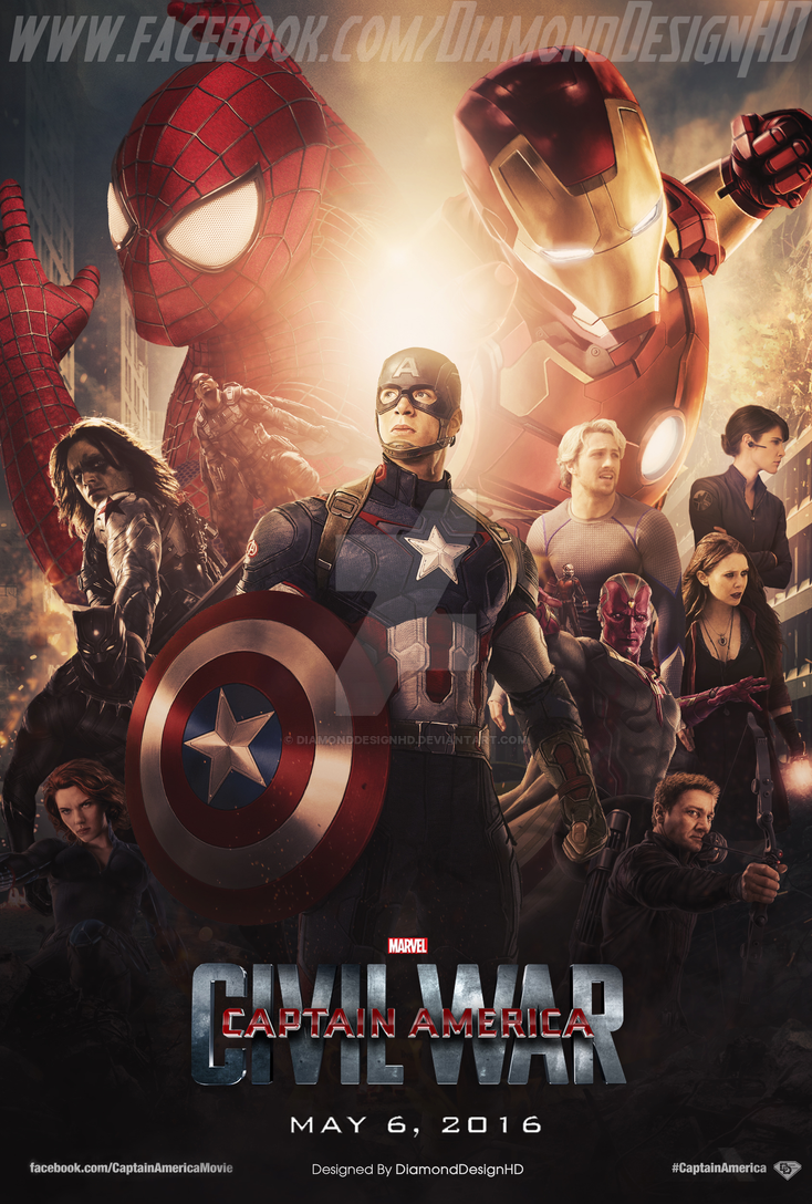 Captain America: Civil War (FAN MADE) Poster by DiamondDesignHD