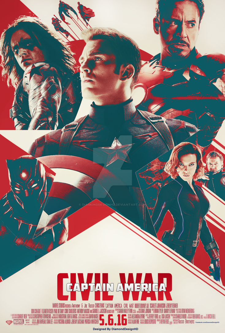 Captain America: Civil War (FAN MADE) Poster by DiamondDesignHD