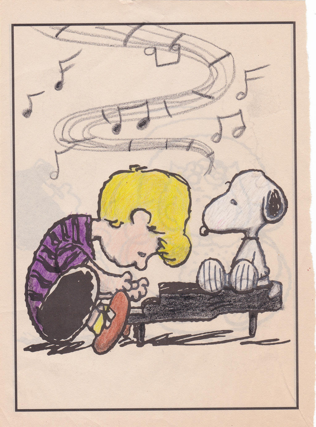 schroeder and snoopy coloring page my style by aspiringtobelikehe