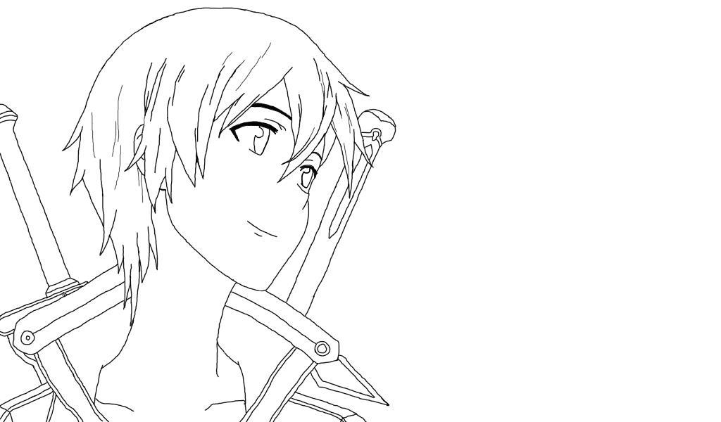 Kirito Lineart : Kirito lineart by yumesketch on deviantart