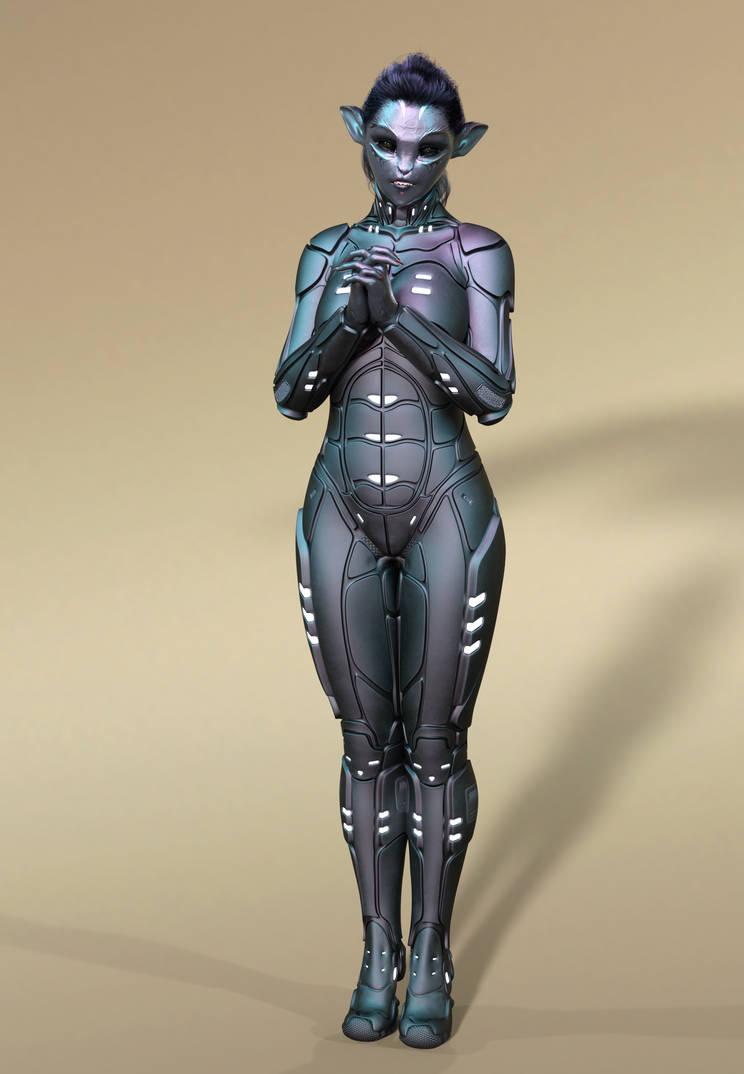 Alien girl by ObsidianHawke