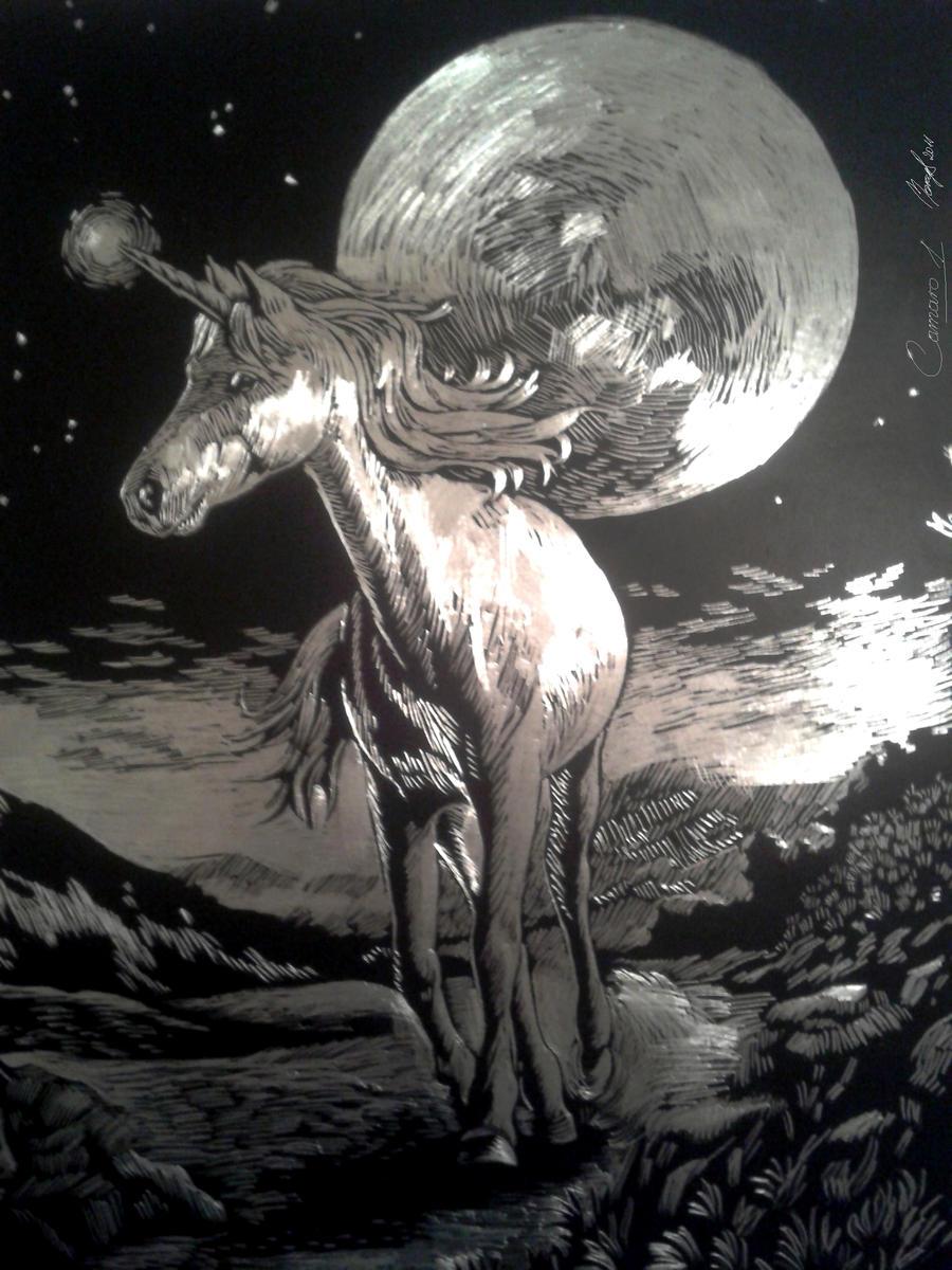 Unicorn - scratchboard by camaro1