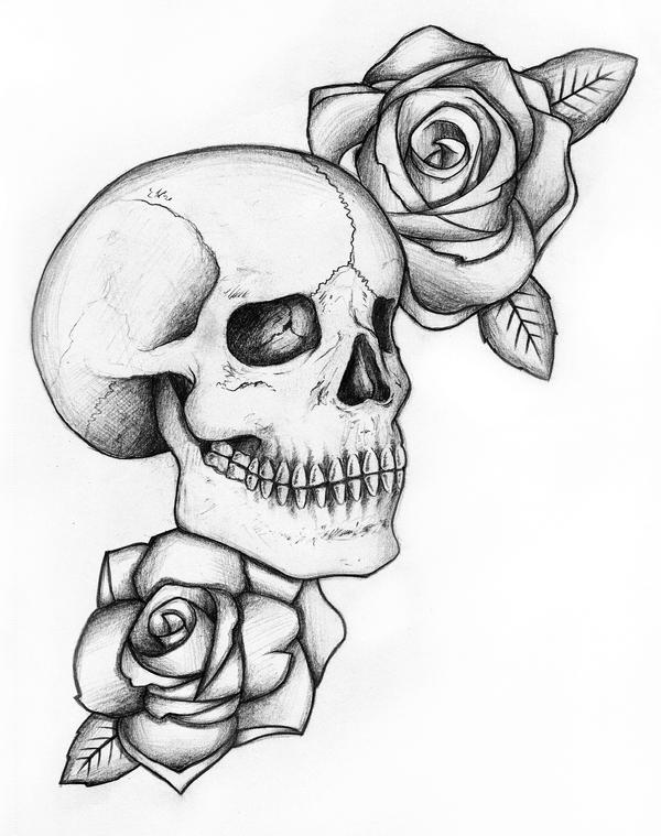 Roses and skulls awesome drawings of roses and skulls skull and roses